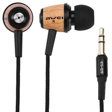 AWEI Q9 Fashion Headset Super Bass Wooden 3.5mm Headphones in ear Earphone For iPhone 6s /MP3 Music Player Stereo Earphone