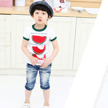 Kid Toddler Summer Watermelon Tops Cozy T Shirt Child Boys Short Sleeve Tee Shirt