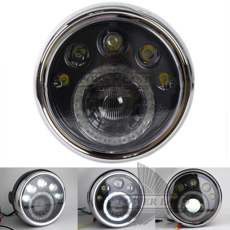 acheter universal moto 7 noir led phare rond vision lampe phare fit pour. Black Bedroom Furniture Sets. Home Design Ideas