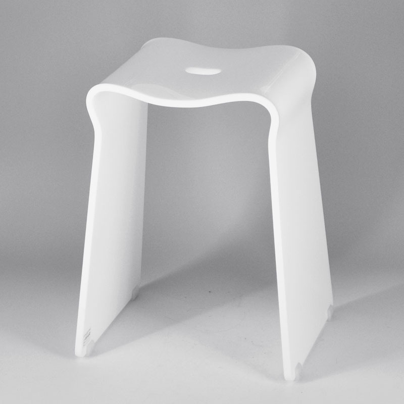 Carr design simple petite blanc salle de bains en - Tabouret plastique pour salle de bain ...