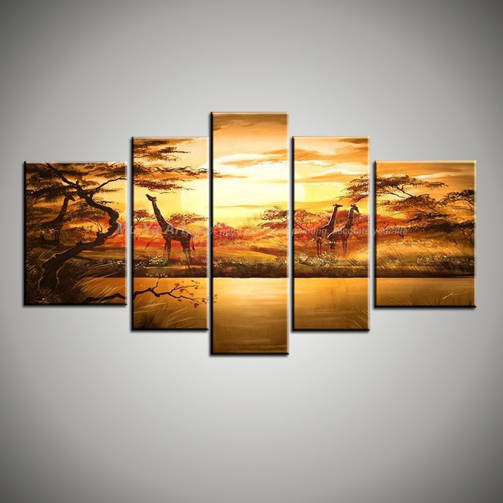 5 piece canvas wall art cheap modern wall deco beautiful handmade picture african animal oil. Black Bedroom Furniture Sets. Home Design Ideas
