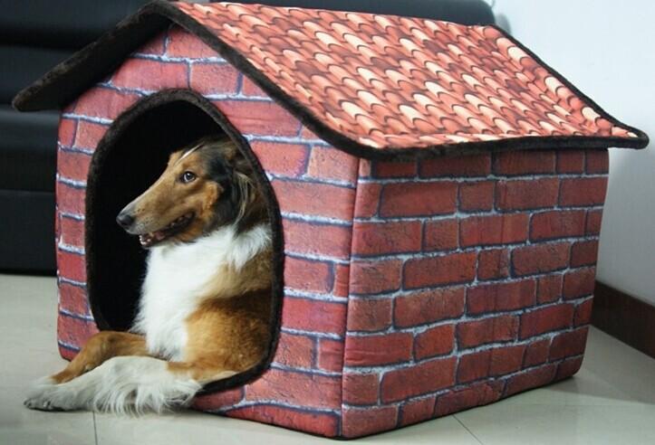 indoor red brick wall pet dog cat house beds kennel gabardine size m l in houses kennels pens. Black Bedroom Furniture Sets. Home Design Ideas