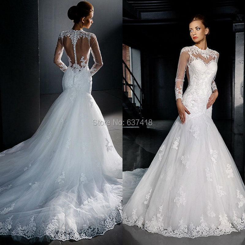 2015 New Elegant Full Long Sleeves Mermaid Wedding Dresses: Elegant Sexy Mermaid Lace Appliques Long Sleeve Wedding