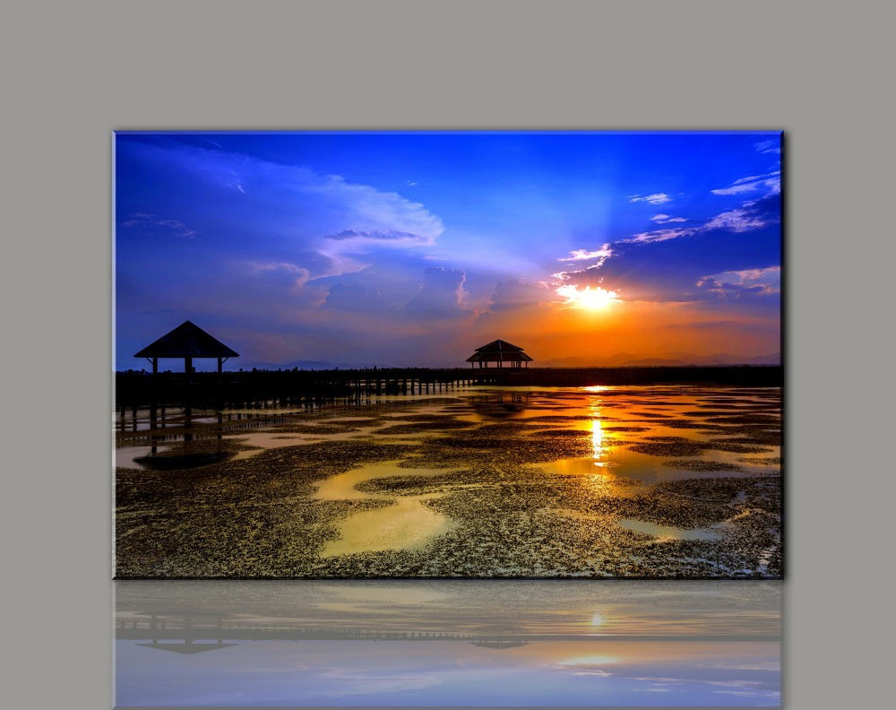 Painting Canvas Wall Art Picture Print for Home Decoration Living Room Photo 1 Panel  Sunset Beach Large Canvas Art Cheap