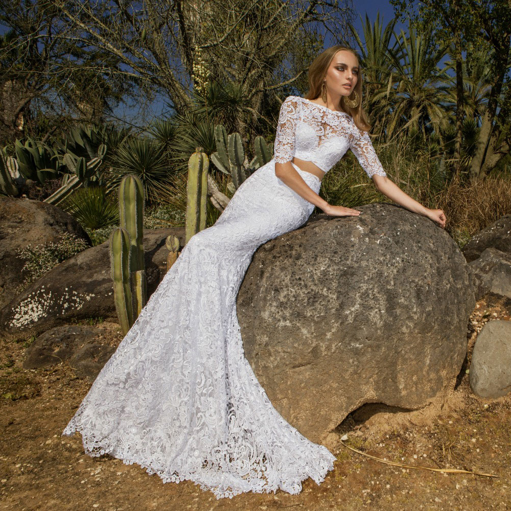 White Lace Mermaid Two Piece Wedding Dresses 2016 Fitted