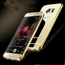 For Samsung Galaxy S6 edge Accessories Luxury Mirror Metal Aluminum Frame+Acrylic Hard Back Case Phone Fundas Covers Coque