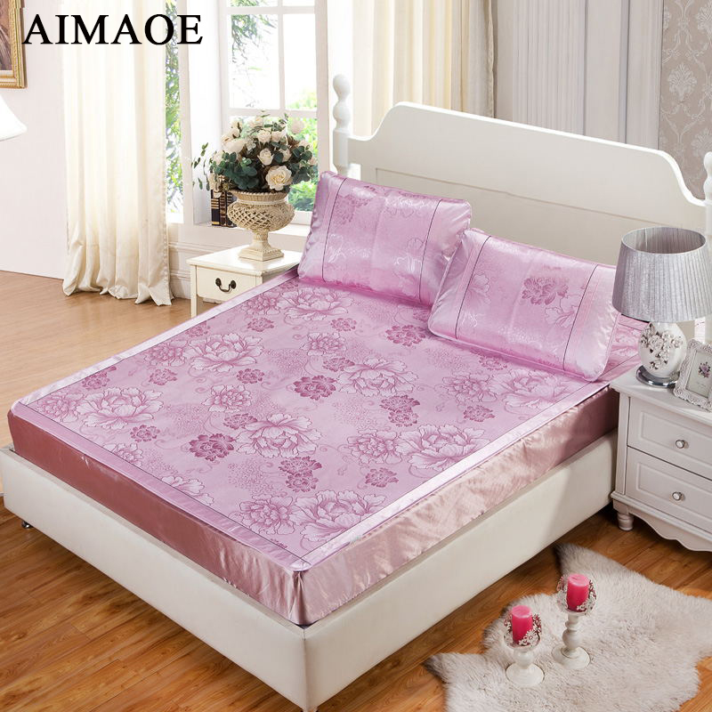 buy 2015 new king size bedding mat kit ice silk three piece set viscose fiber. Black Bedroom Furniture Sets. Home Design Ideas