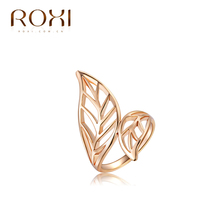 ROXI Top Quality 3 Round 18K Rose Gold Plated Leaves Ring Jewelry Crystals From Austria Full