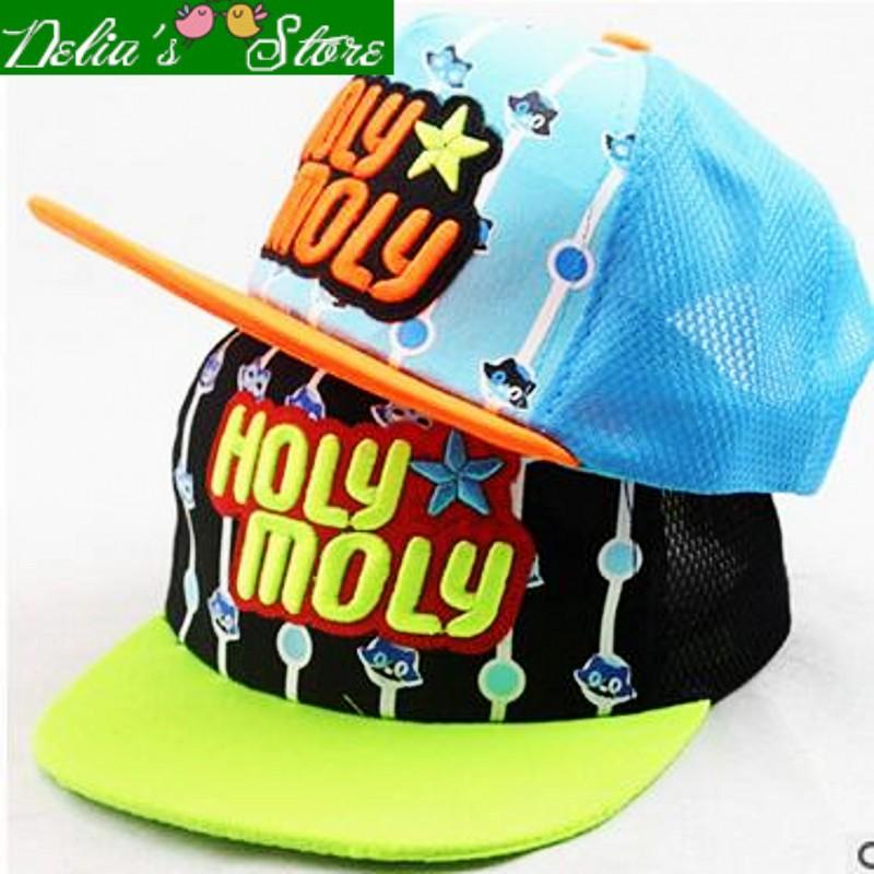2016 New Fashion Summer Letter HOLY MOLY Patchwork Children Hip Hop Baseball Caps Sun Hats Mesh