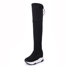 Luciever mujer invierno muslo botas altas sobre la rodilla mujer Flcok  zapatos con cordones tacones altos e05414afecd7