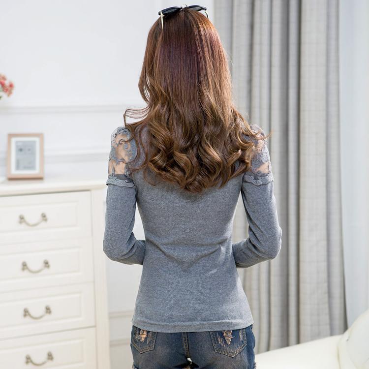 Женщины с длинным рукавом кружева блузка 2015 осень и зима корейской элегантный дамы кружева вышивка топы свободного покроя женщин трикотажные рубашки 2963