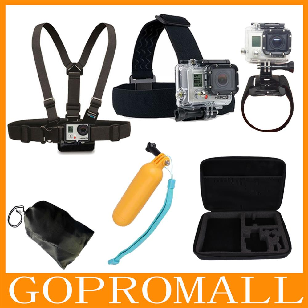 Go Pro Sj4000 Accessories Head Belt+Chest Strap+Wrist Belt+Bag+Floating Hand