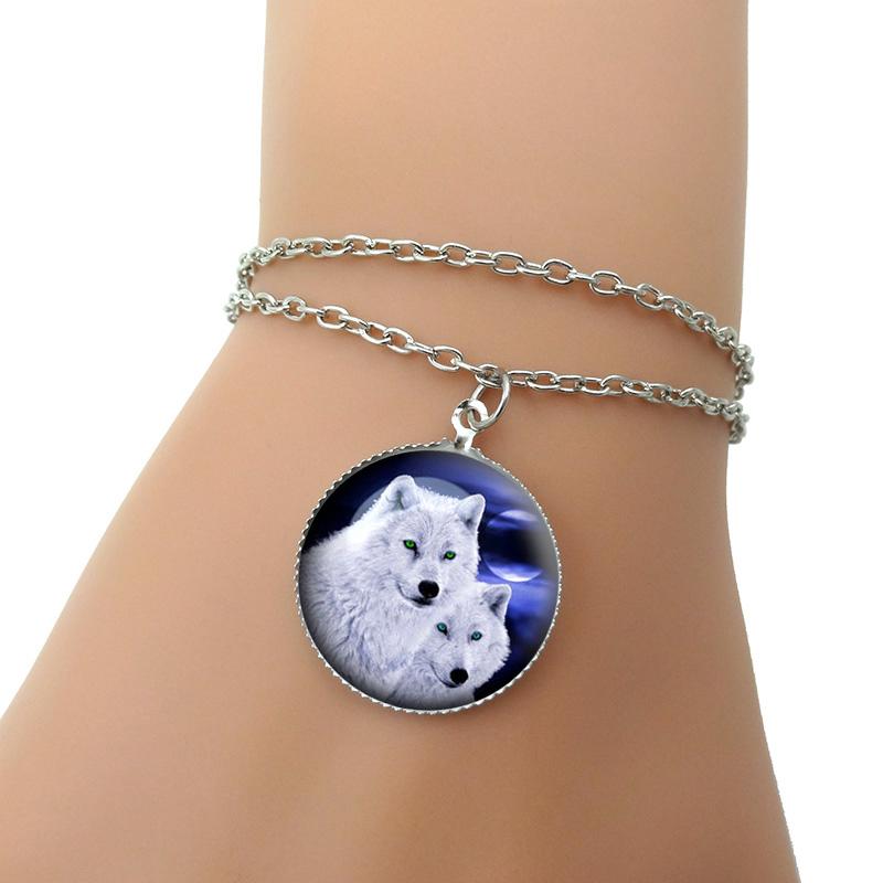 Мода волк изображения браслет ручной работы DIY серебряная цепочка браслеты для женщин ювелирных украшений
