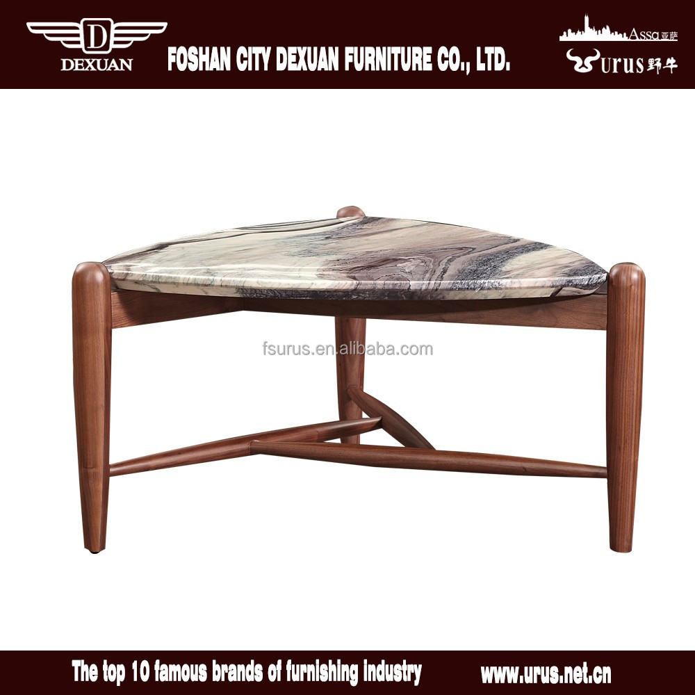Unique Small Wooden Center Table Design With Marble Top