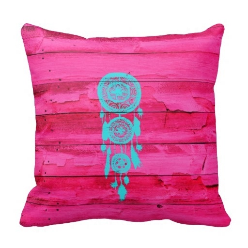 Pillow Cases Hipster Teal Dreamcatcher Girly Pink Fuchsia Wood Throw Pillow Case (Size: 20