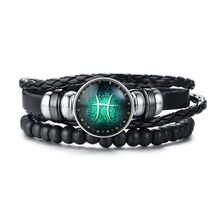 Vnox Aries 12-слойные кожаные браслеты с веревкой для мужчин и женщин, подарки, Винтажные Ювелирные изделия pulseira(Китай)