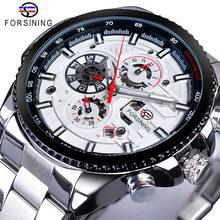 Forsining мужские наручные часы с тремя циферблатами и календарем из нержавеющей стали, механические Автоматические наручные часы, лучший брен...(Китай)