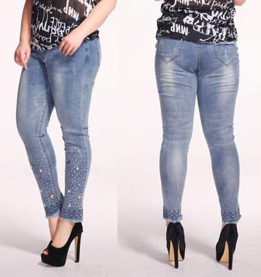 femmes rondes plus lastique jeans mode strass perles skinny crayon pantalons sexy pantalons. Black Bedroom Furniture Sets. Home Design Ideas