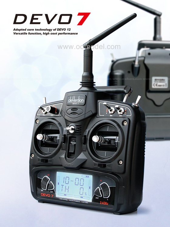 Walkera Devo 7 Transmitter Devention Radio with receiver RX701 free shipping with tracking
