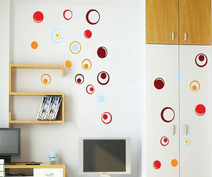 Colorful Circle Simple Style Vinyl Wall Stickers For Kids Rooms Home Decor DIY Wallpaper Art Decals House Decoration CT211