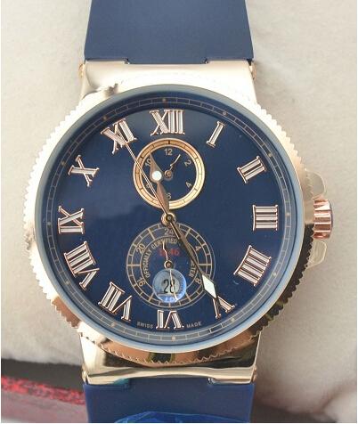 Новинка часы мужчины люксовый бренд высокое качество розового золота чехол синий циферблат резинкой человек автоматические механические часы