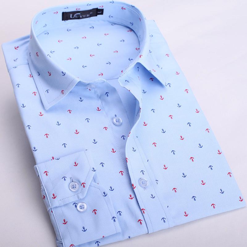 Осень марка платье мужчины рубашка длинный рукав вилочная часть бизнес свободного покроя рубашка узор в горошек рубашки мужчины официальный рубашки