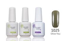 3 packs iLuve Professional Olive Color Nail Gel Polish UV LED Lamps Gel 15ml Base Top