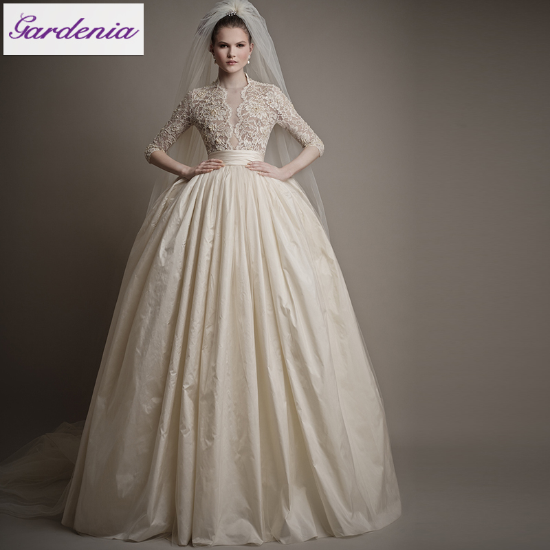 Unique Style Ball Gown Champagne HIgh Collar Sexy Sheer
