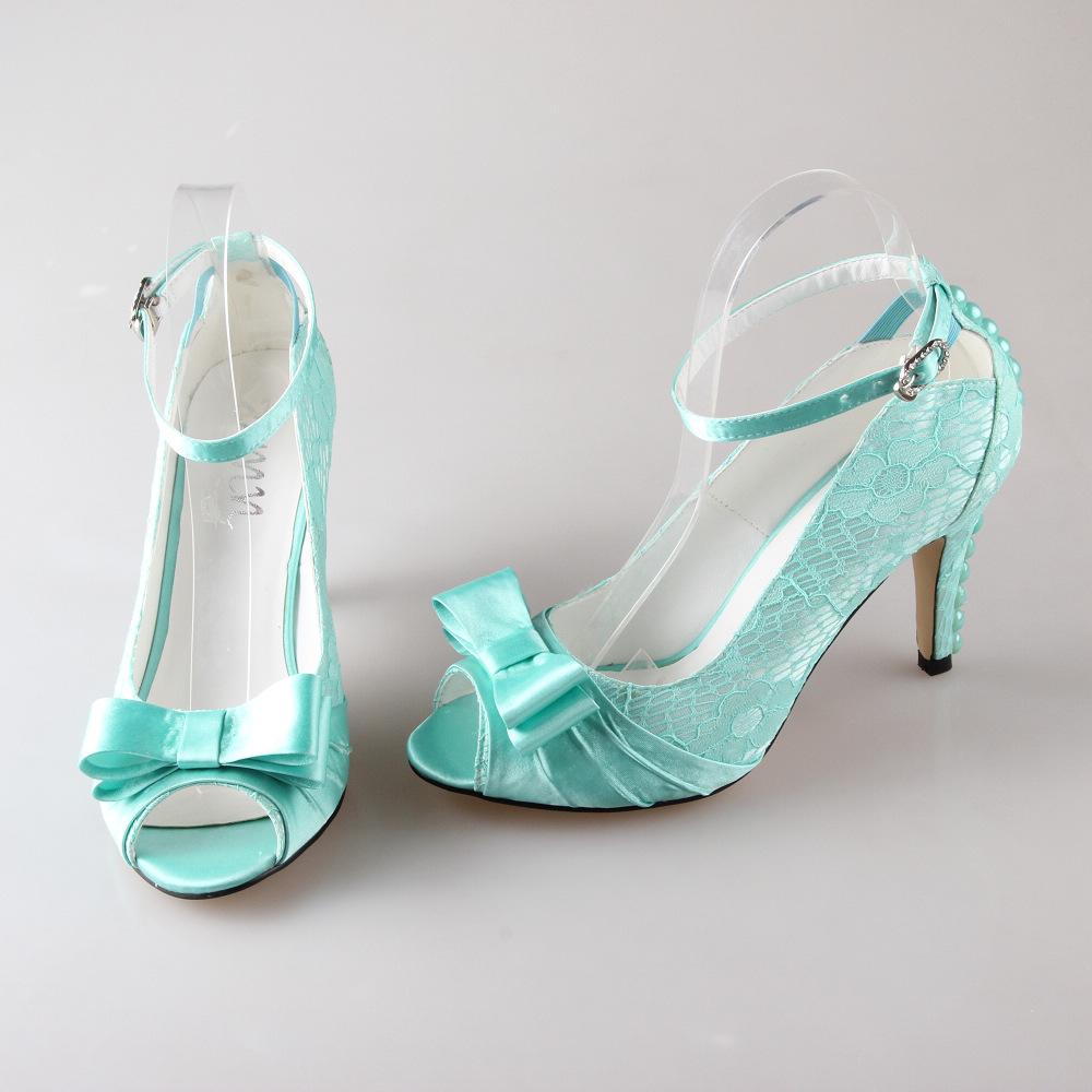 Light Blue Satin Wedding Shoes
