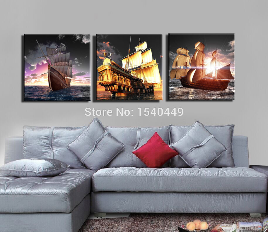 Aliexpress Com Buy 5 Panels Dusk Sunset Boat Printed: Popular Sailboat Oil Painting-Buy Cheap Sailboat Oil