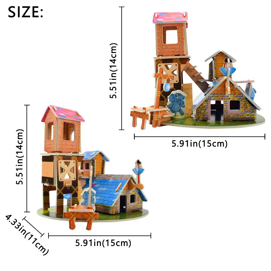 3D Wooden Western Farmhouse Buildings DIY Three-dimensional Jigsaw Puzzle Toy SI