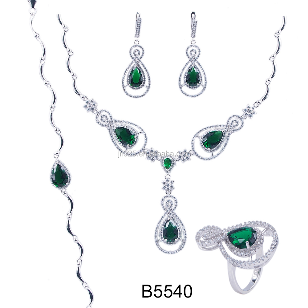 Fashion Green Emerald Silver Pakistani Bridal Jewelry Set Buy