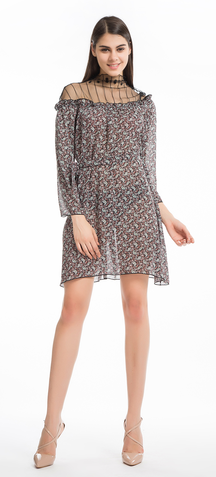 93005c315e6b2 Chicanary Paisley Print with Gauze Asymmetrica Shoulder Women Loose Dress  Three-quarter Sleeve Shift Dresses Plus Big Size