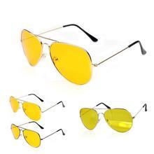 Hot saling UV400 HD Night Vision Sun Glasses AVIATOR Yellow Driving View Sunglasses New FREE CASE Alloy Metal