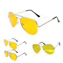 Hot saling UV400 HD Night Vision Sun Glasses AVIATOR Yellow Driving View Sunglasses New FREE CASE Alloy Metal