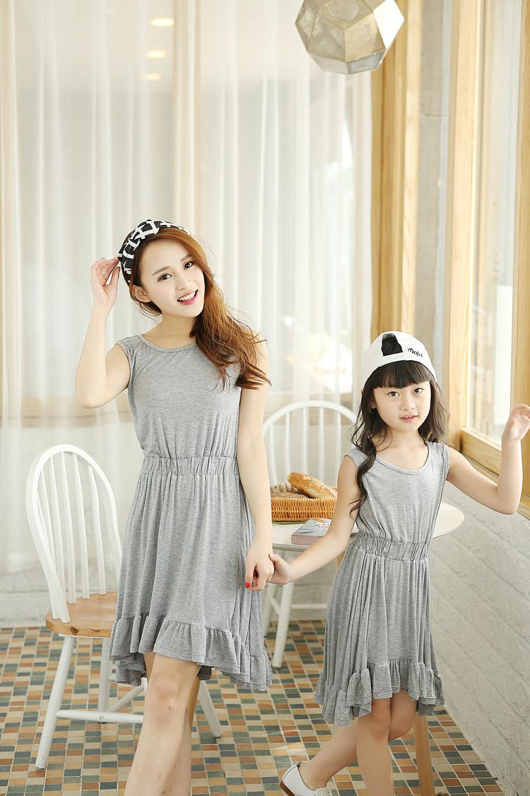 Мать дочь платье новое поступление летом 2015 одежды семьи комплект девушки одеваются F129