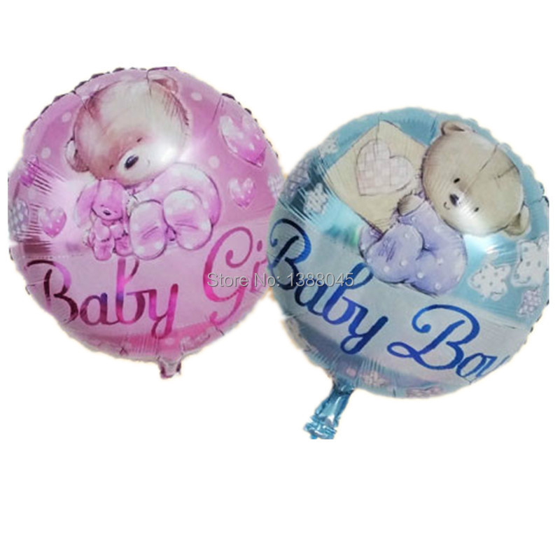 Helium Balloons Baby Shower: 18 Inch Round Baby Bear Helium Foil Balloons Baby Girl