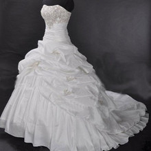 Cheap Price ! 2014 New Arrival ! Free Shipping ! A Line Strapless Embroidery White / Ivory Wedding Dresses OW 20288