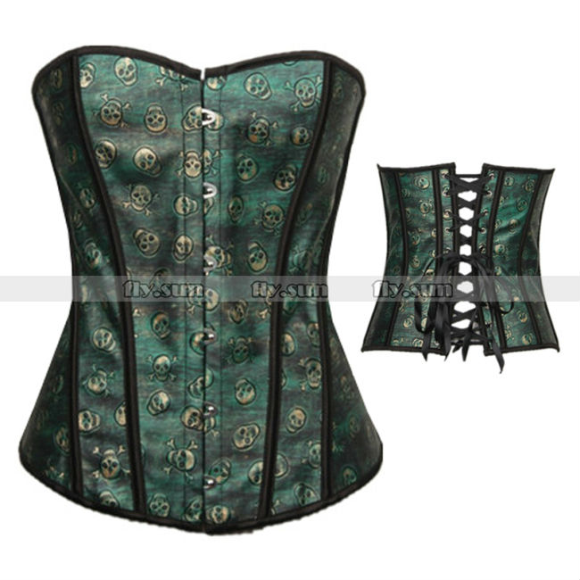 Green-Skull-Pattern-Faux-Leather-Boned-Overbust-Corset ...