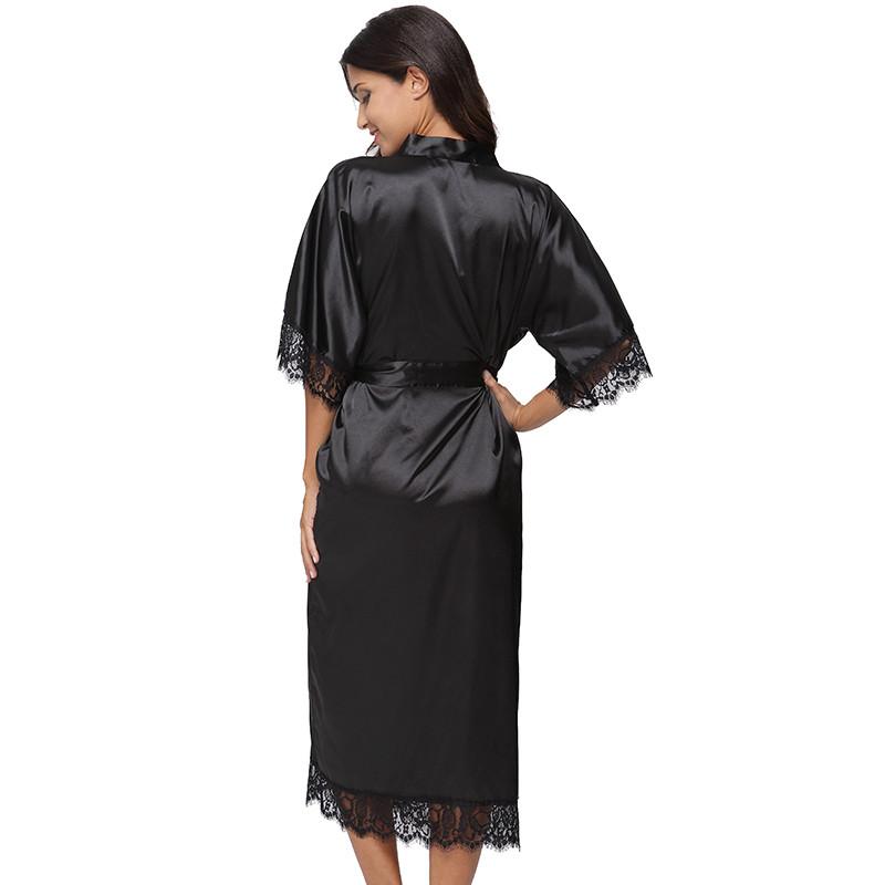 8db79ce84c 2019 Wholesale Summer Lace Patchwork Satin Kimono Robe Sexy ...