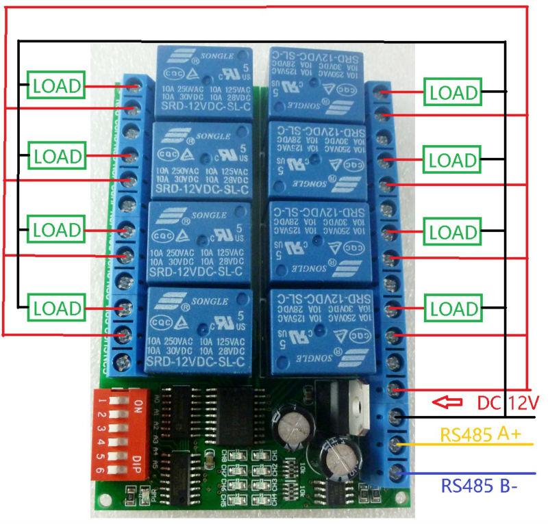 8ch 12v modbus rtu rs485 relay module switch board for plc 12v 10a dc power supply circuit diagram block diagram dc power supply