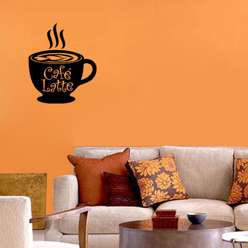 Cafe Latte <font><b>Italian</b></font> Wall Art Decal Coffee Cup Wall Decal <font><b>Home</b></font> <font><b>Decor</b></font> Removable PVC Waterproof Wall Stickers Living Room