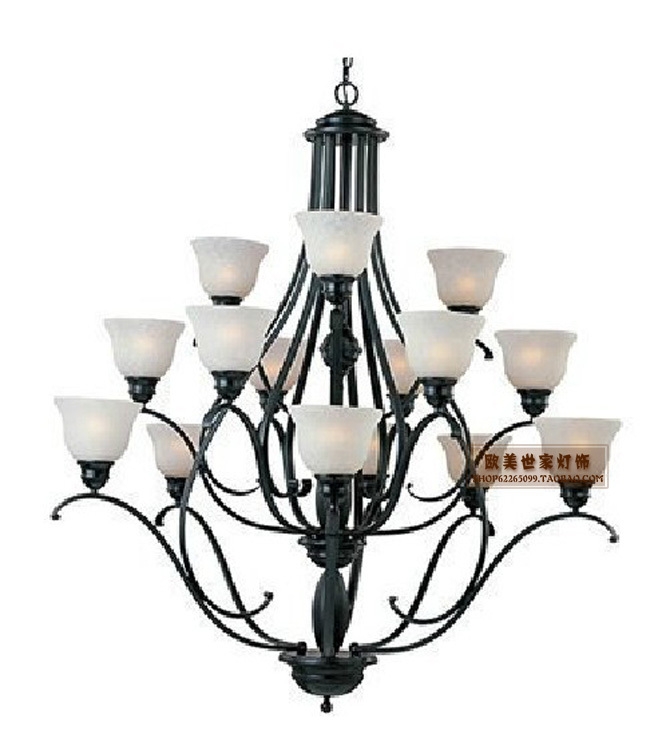 Living Room Lamp Sizes: 3 Layers Iron Chandelier Continental Iron Chandelier Lamp