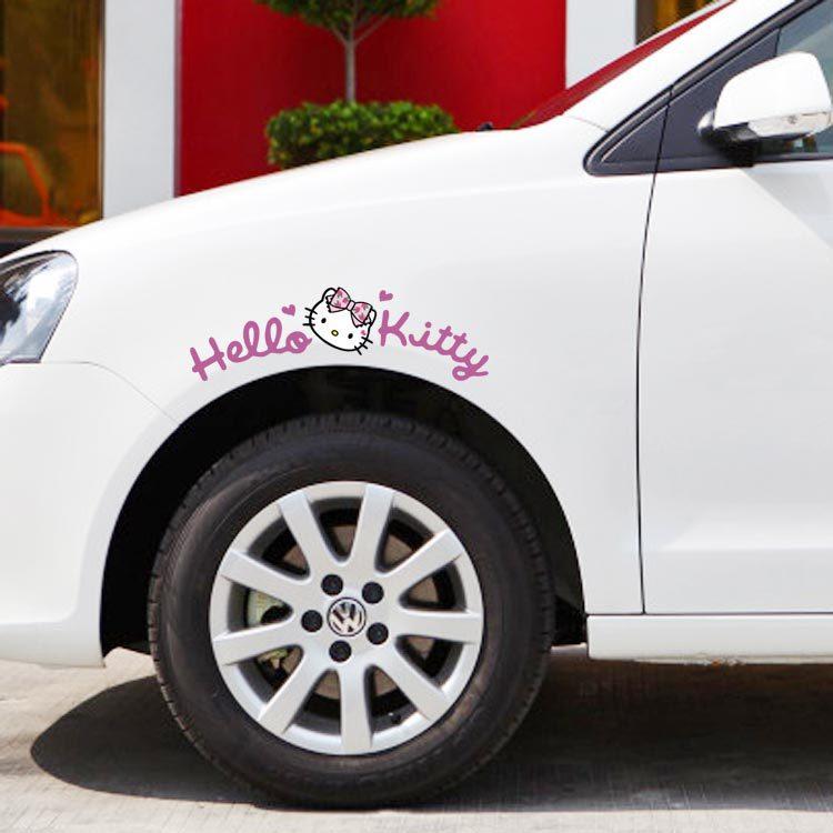 Newest Design Cute Car Sticker Hello Kitty Wheel Eyebrow