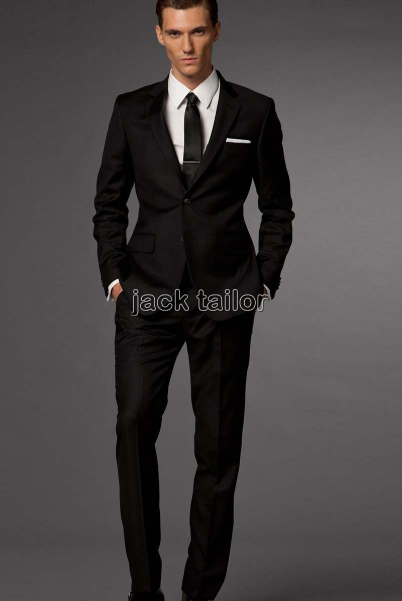 custom made slim fit business suit black Groom Tuxedos ...