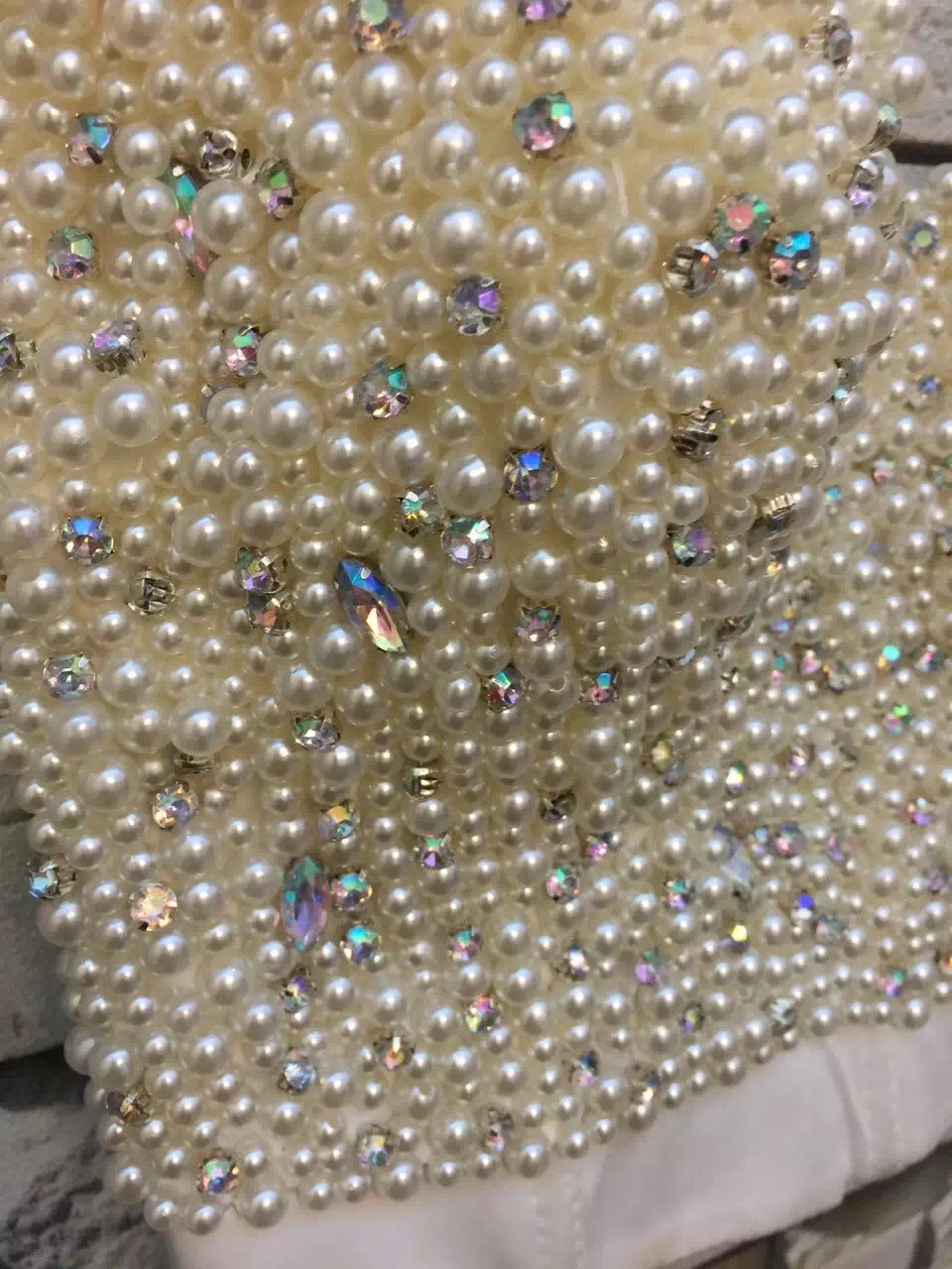 27f7f1f8f 2019 Wholesale Hand Made Pearl White Beads Bustier Top For Women ...