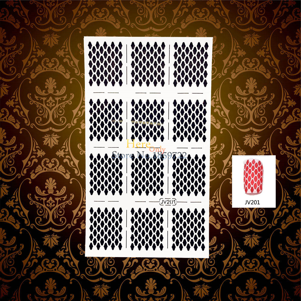 1PC Charming 3D Holo Nail Vinyls Manicure Decal Tools Guides Rhombus Pattern HWJV201 Nail Art Salon