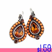 New-Women-Ethnic-Vintage-Colorful-Beads-Big-Rhinestones-Clip-Earrings-for-Women-Fashion-Jewelry