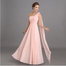 Розовое длинное шифоновое платье подружки невесты, недорогие платья для свадебной вечеринки и выпускного вечера(Китай)