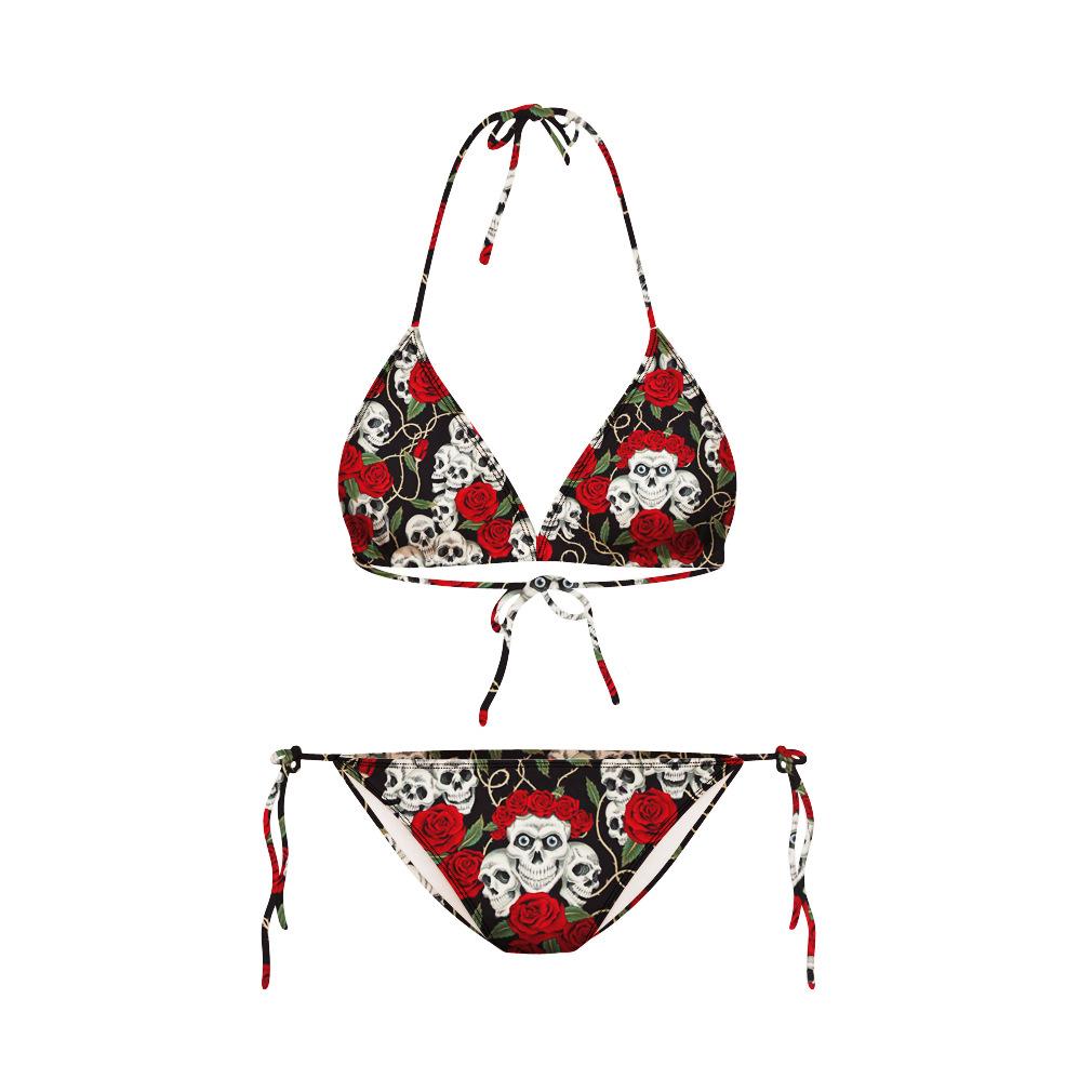 2015 retro swimwear bikini latest skull head maillot de. Black Bedroom Furniture Sets. Home Design Ideas